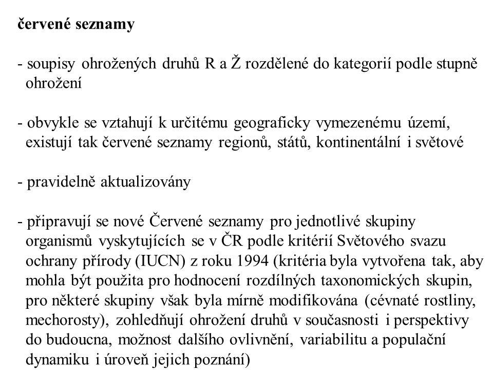 červené seznamy soupisy ohrožených druhů R a Ž rozdělené do kategorií podle stupně. ohrožení.