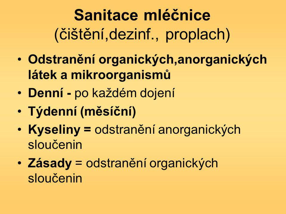 Sanitace mléčnice (čištění,dezinf., proplach)
