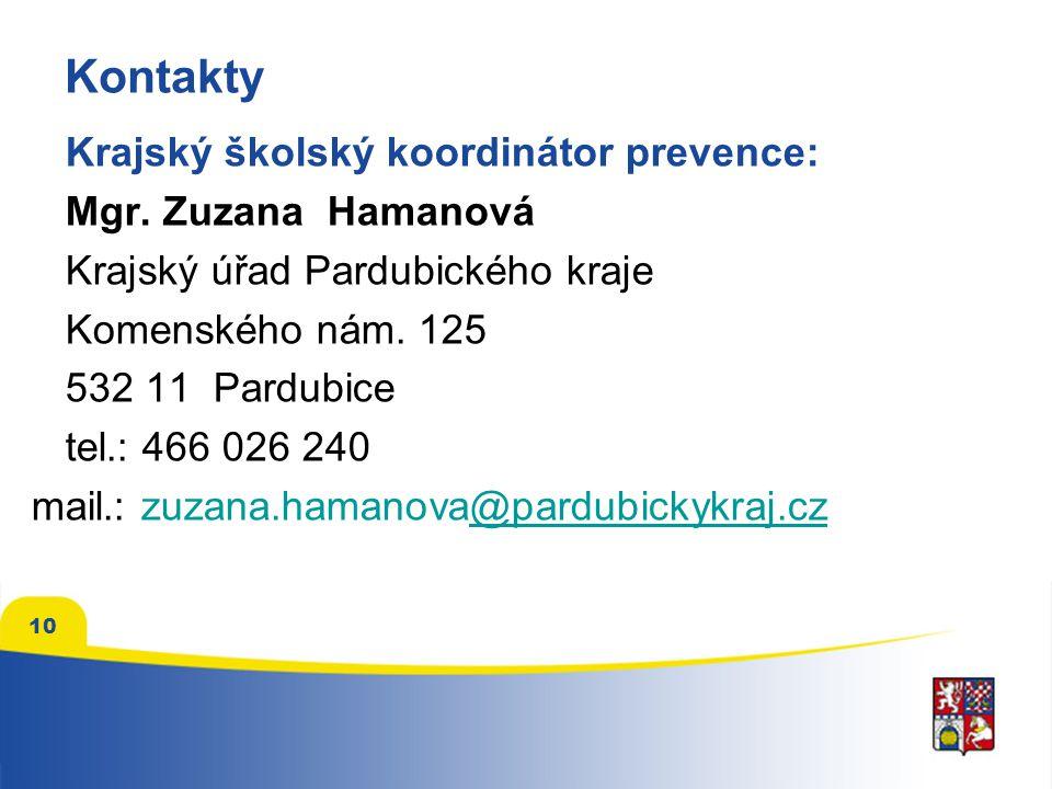 Kontakty Krajský školský koordinátor prevence: Mgr. Zuzana Hamanová