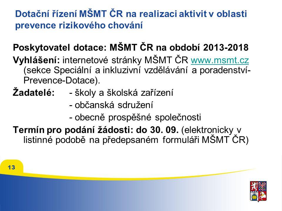 Dotační řízení MŠMT ČR na realizaci aktivit v oblasti prevence rizikového chování