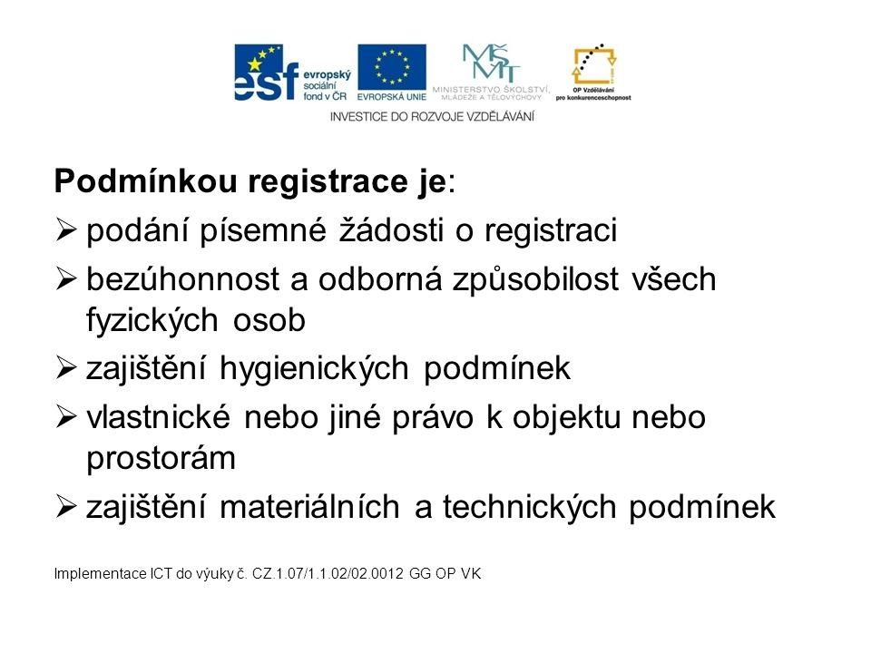 Podmínkou registrace je: podání písemné žádosti o registraci
