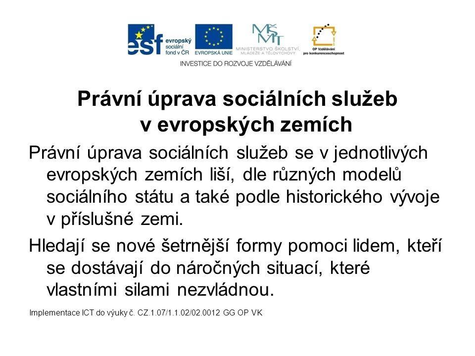 Právní úprava sociálních služeb v evropských zemích