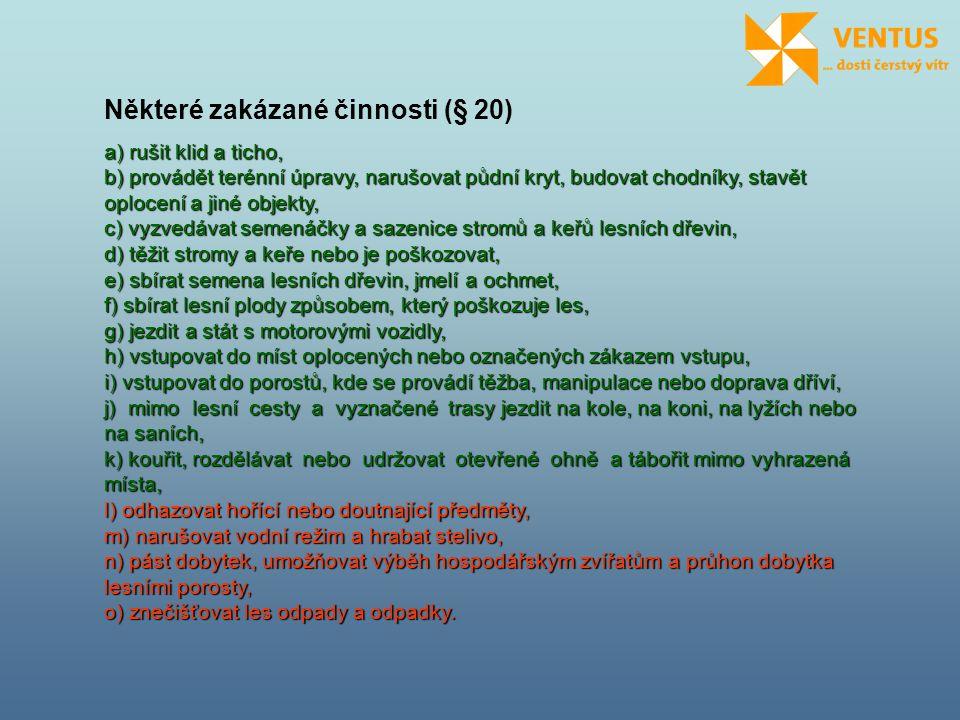 Některé zakázané činnosti (§ 20)