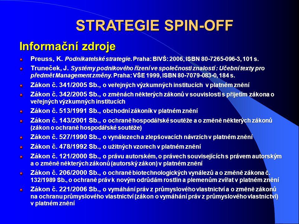 STRATEGIE SPIN-OFF Informační zdroje