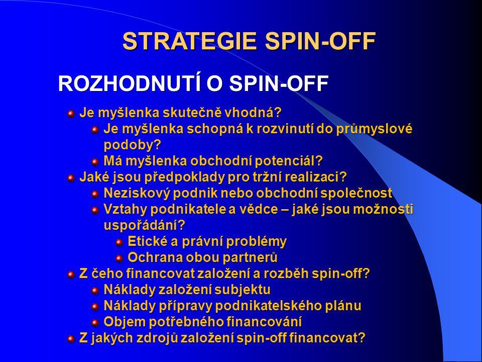 STRATEGIE SPIN-OFF ROZHODNUTÍ O SPIN-OFF Je myšlenka skutečně vhodná
