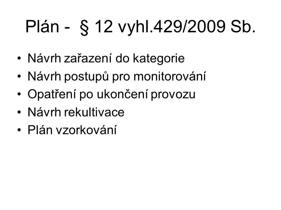 Plán - § 12 vyhl.429/2009 Sb. Návrh zařazení do kategorie