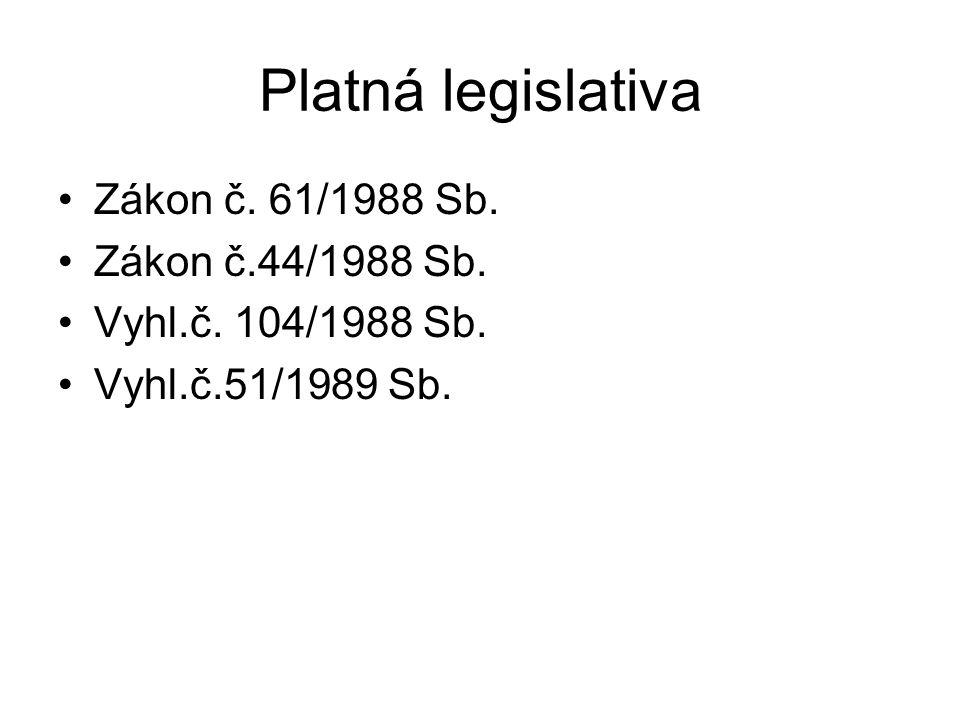 Platná legislativa Zákon č. 61/1988 Sb. Zákon č.44/1988 Sb.