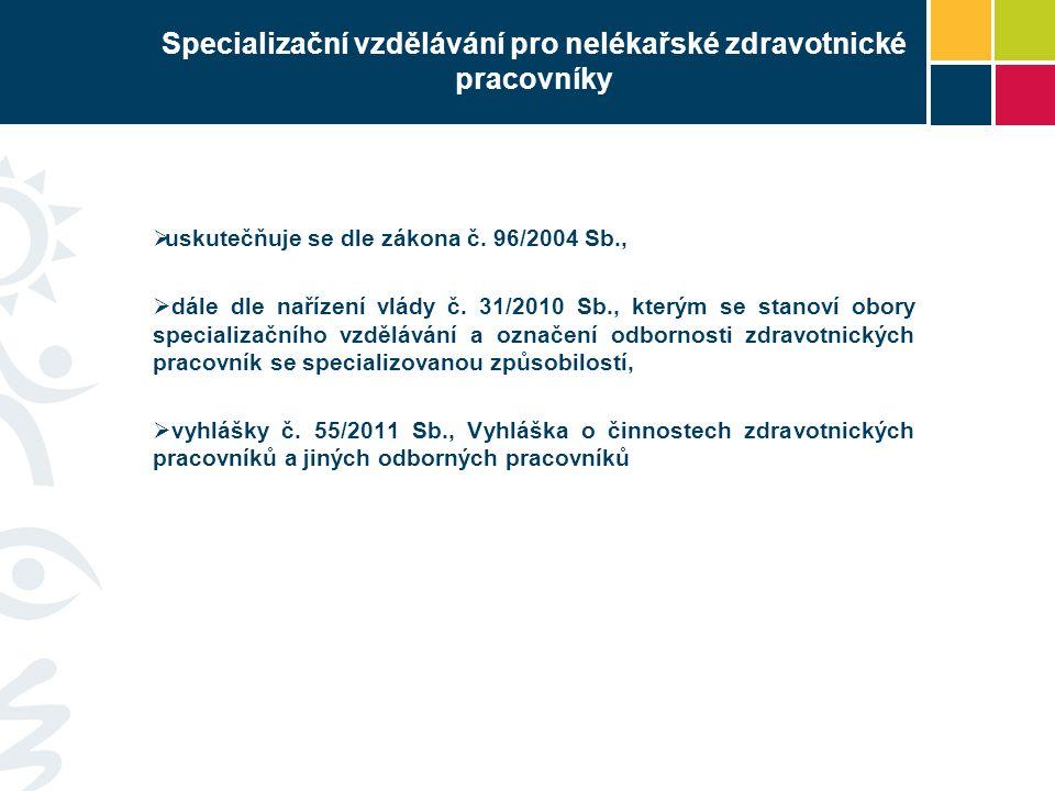 Specializační vzdělávání pro nelékařské zdravotnické pracovníky