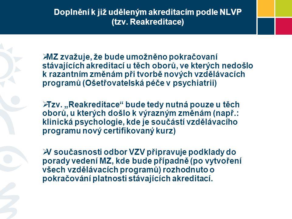 Doplnění k již uděleným akreditacím podle NLVP (tzv. Reakreditace)