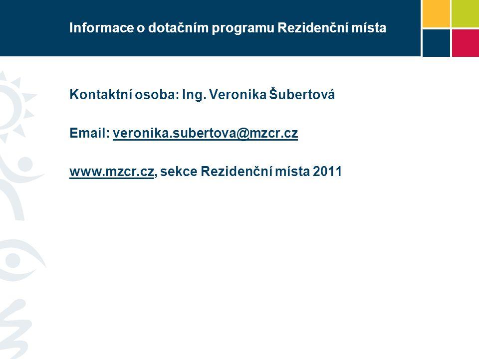 Informace o dotačním programu Rezidenční místa