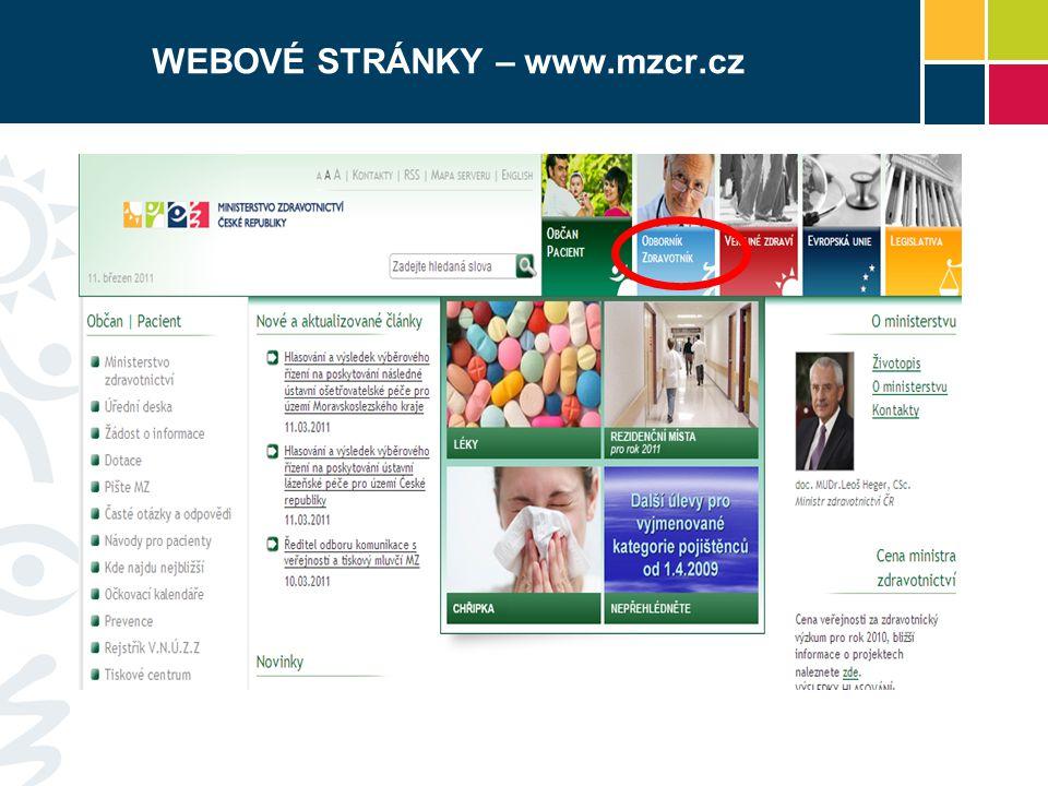 WEBOVÉ STRÁNKY – www.mzcr.cz
