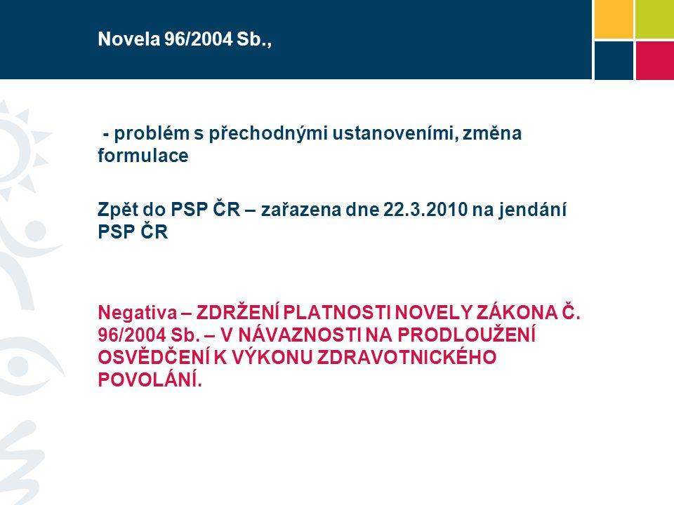 Novela 96/2004 Sb., - problém s přechodnými ustanoveními, změna formulace. Zpět do PSP ČR – zařazena dne 22.3.2010 na jendání PSP ČR.