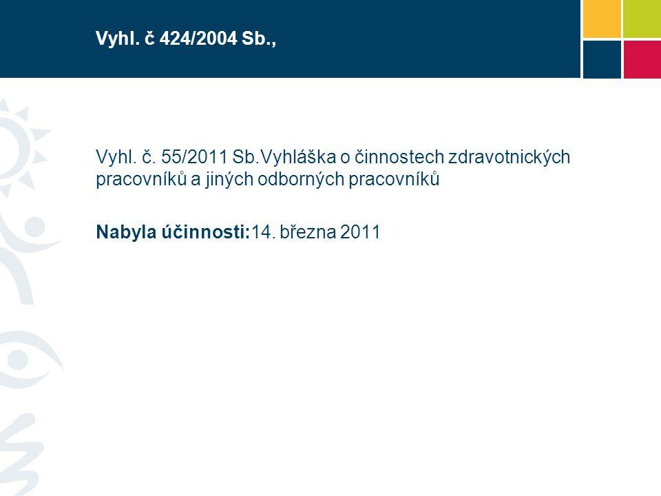 Vyhl. č 424/2004 Sb., Vyhl. č. 55/2011 Sb.Vyhláška o činnostech zdravotnických pracovníků a jiných odborných pracovníků.