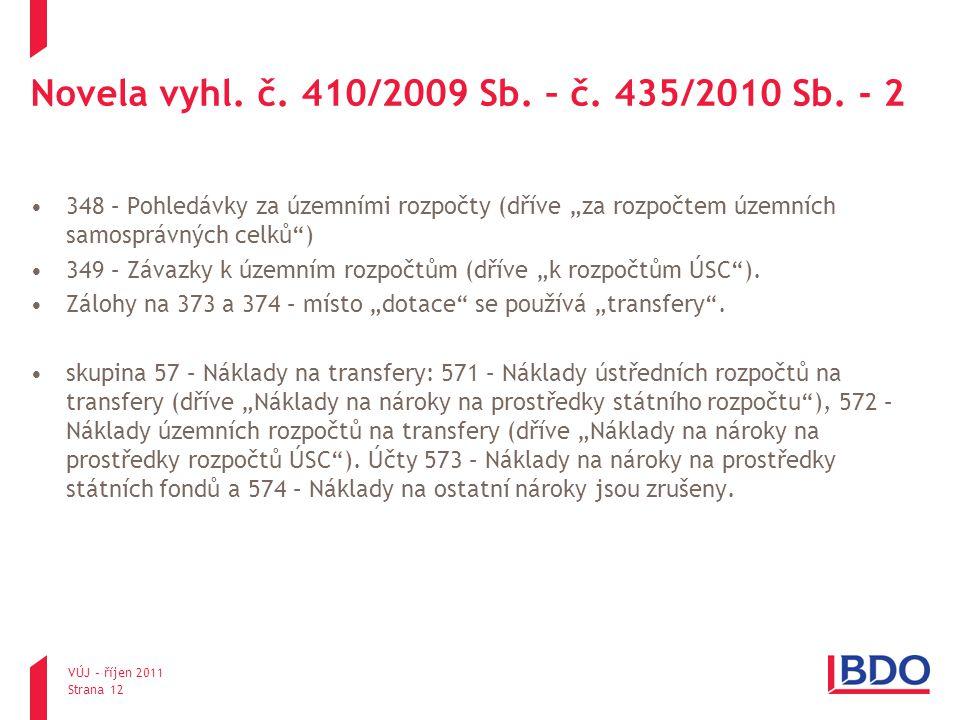 Novela vyhl. č. 410/2009 Sb. – č. 435/2010 Sb. - 2