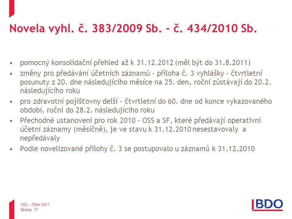 Novela vyhl. č. 383/2009 Sb. – č. 434/2010 Sb. pomocný konsolidační přehled až k 31.12.2012 (měl být do 31.8.2011)
