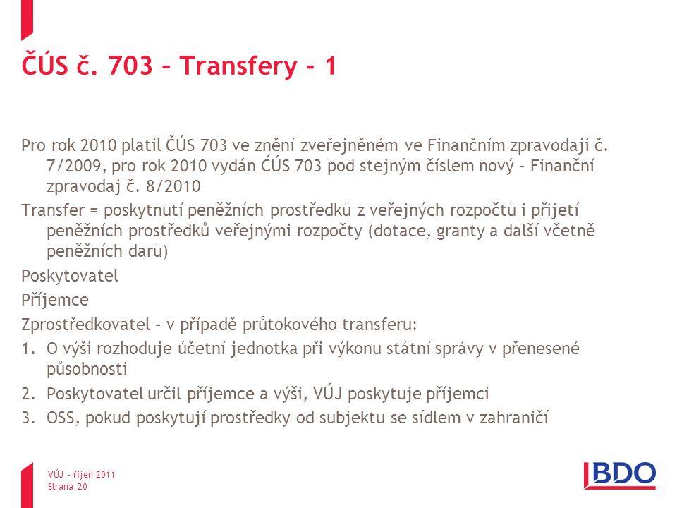 ČÚS č. 703 – Transfery - 1