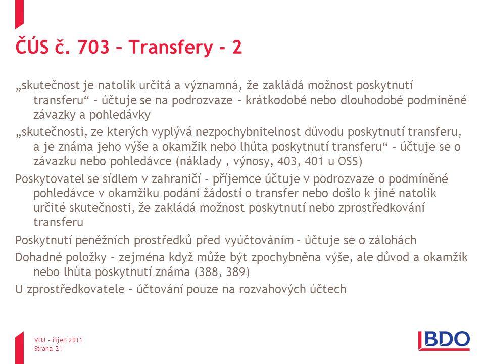 ČÚS č. 703 – Transfery - 2