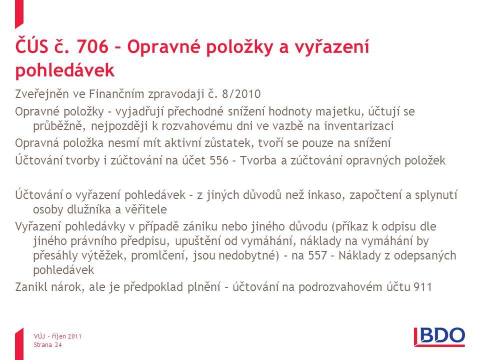 ČÚS č. 706 – Opravné položky a vyřazení pohledávek