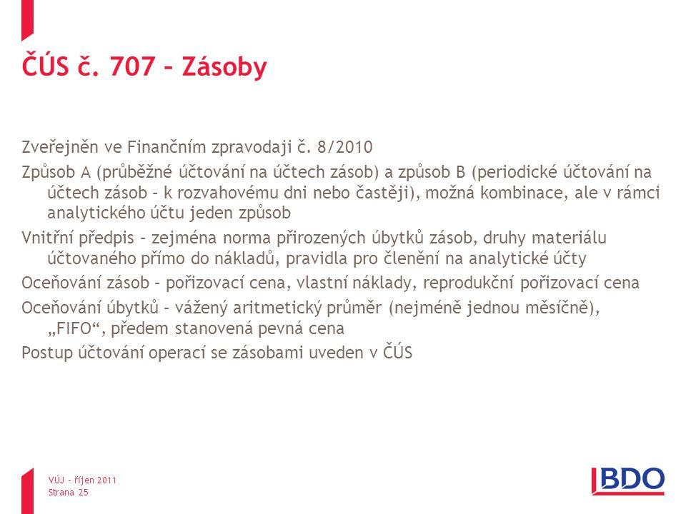 ČÚS č. 707 – Zásoby