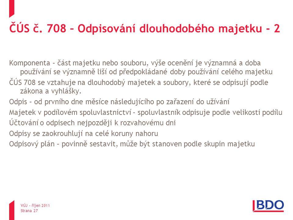 ČÚS č. 708 – Odpisování dlouhodobého majetku - 2