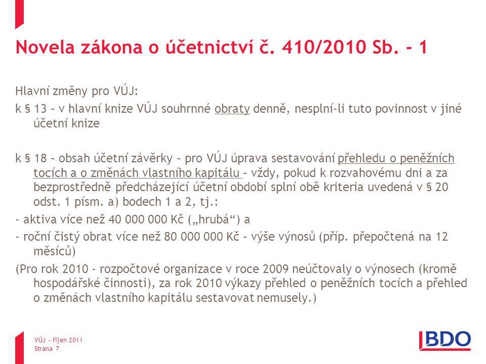 Novela zákona o účetnictví č. 410/2010 Sb. - 1