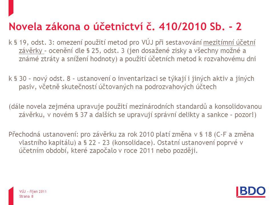 Novela zákona o účetnictví č. 410/2010 Sb. - 2