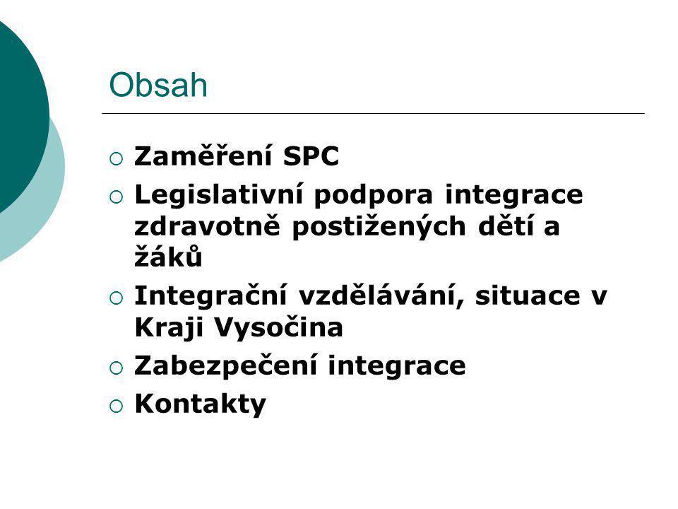 Obsah Zaměření SPC. Legislativní podpora integrace zdravotně postižených dětí a žáků. Integrační vzdělávání, situace v Kraji Vysočina.