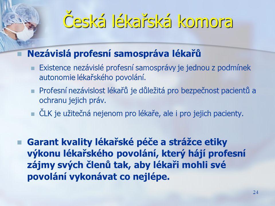Česká lékařská komora Nezávislá profesní samospráva lékařů