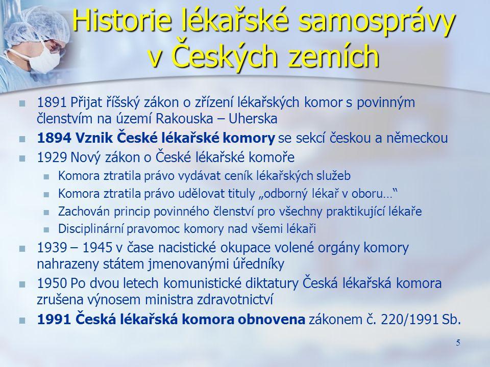 Historie lékařské samosprávy v Českých zemích