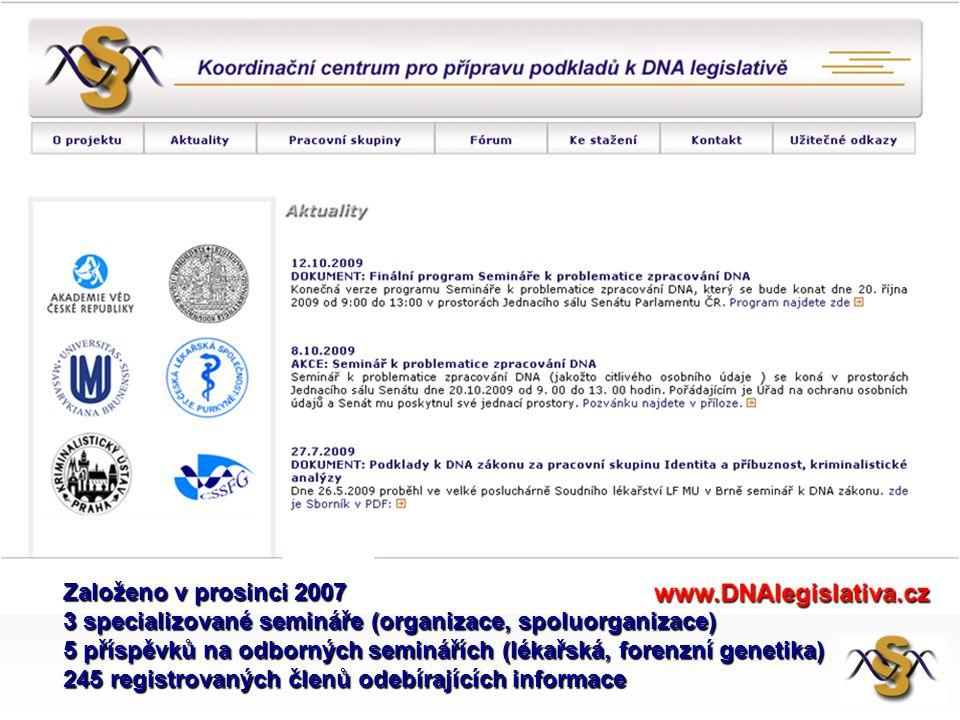 Založeno v prosinci 2007 3 specializované semináře (organizace, spoluorganizace) 5 příspěvků na odborných seminářích (lékařská, forenzní genetika)