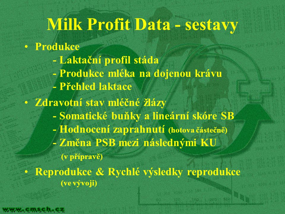 Milk Profit Data - sestavy