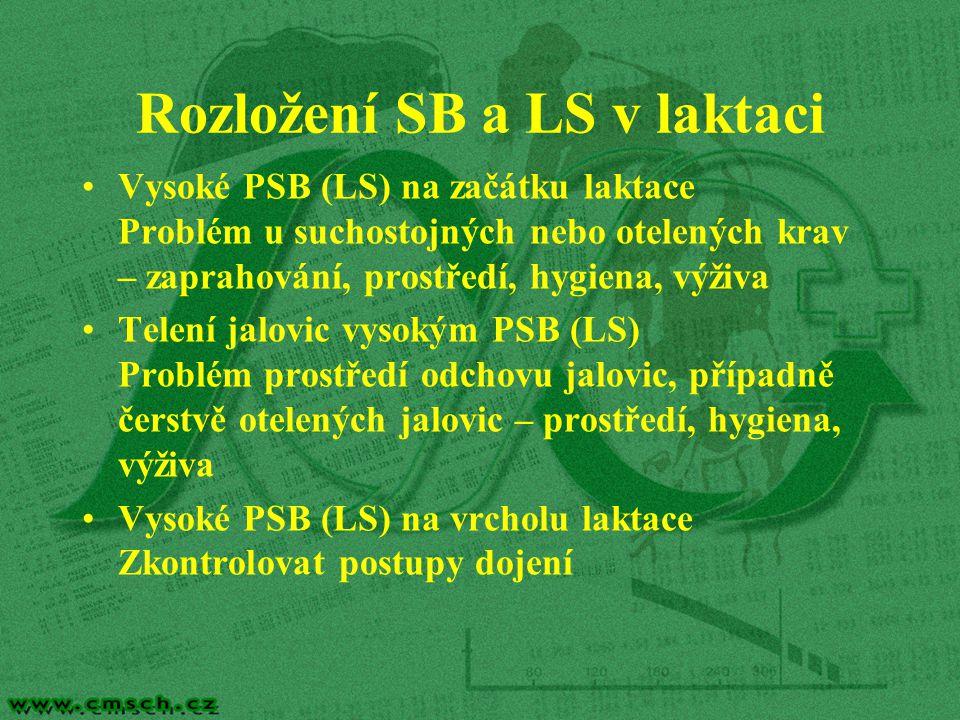 Rozložení SB a LS v laktaci