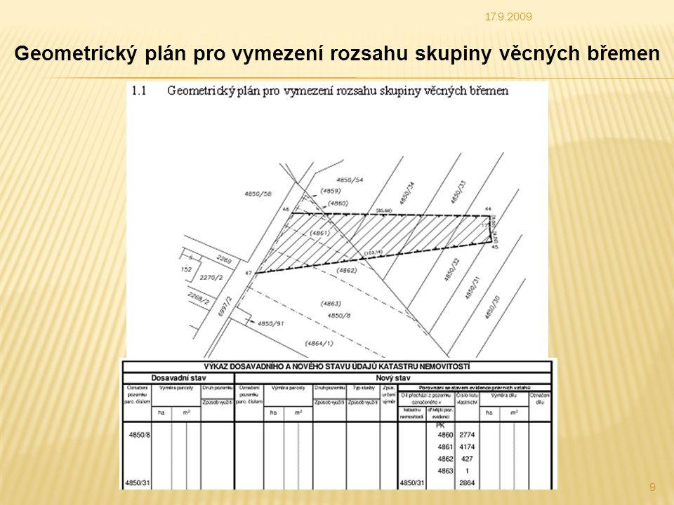 Geometrický plán pro vymezení rozsahu skupiny věcných břemen