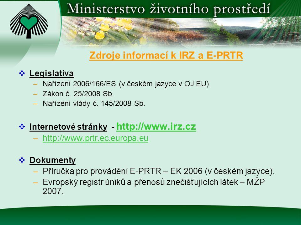 Zdroje informací k IRZ a E-PRTR