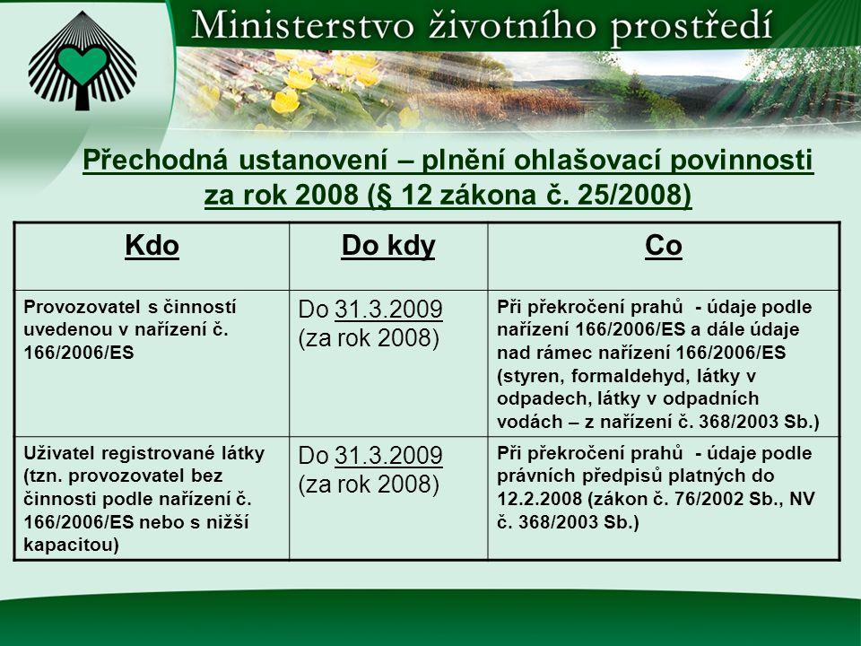Přechodná ustanovení – plnění ohlašovací povinnosti za rok 2008 (§ 12 zákona č. 25/2008)