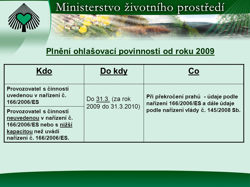 Plnění ohlašovací povinnosti od roku 2009