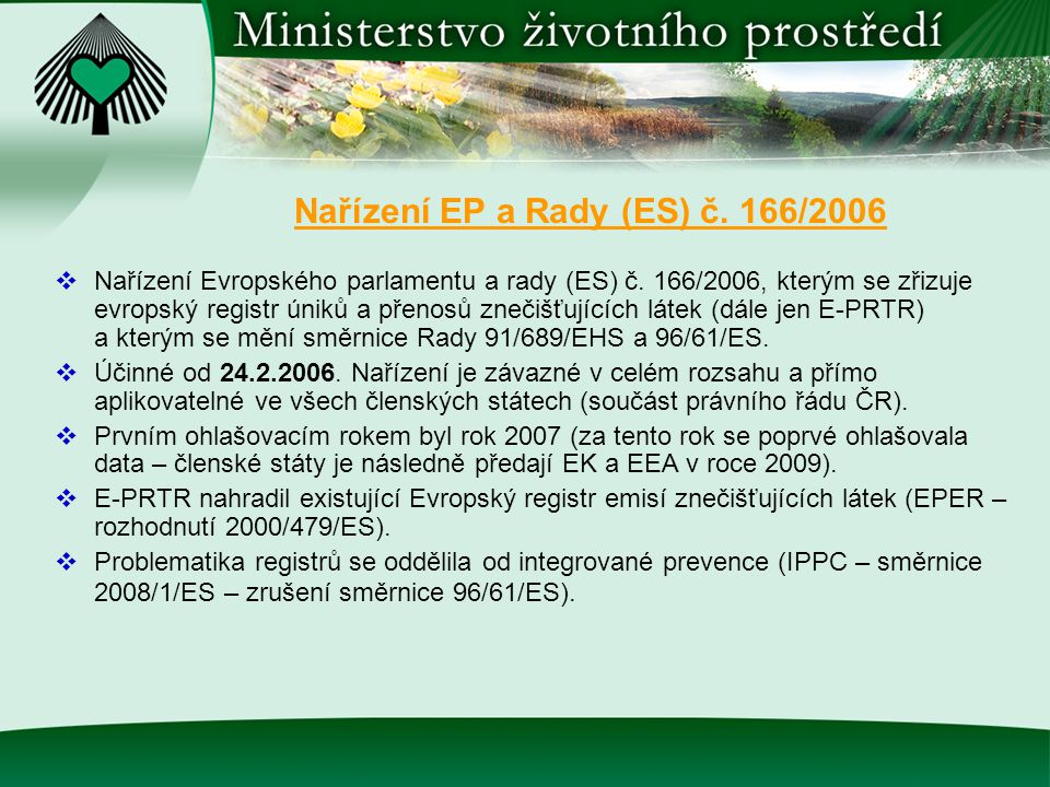 Nařízení EP a Rady (ES) č. 166/2006