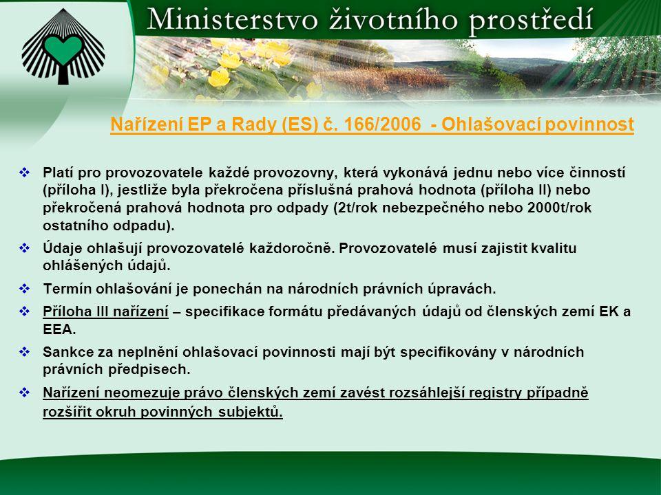 Nařízení EP a Rady (ES) č. 166/2006 - Ohlašovací povinnost