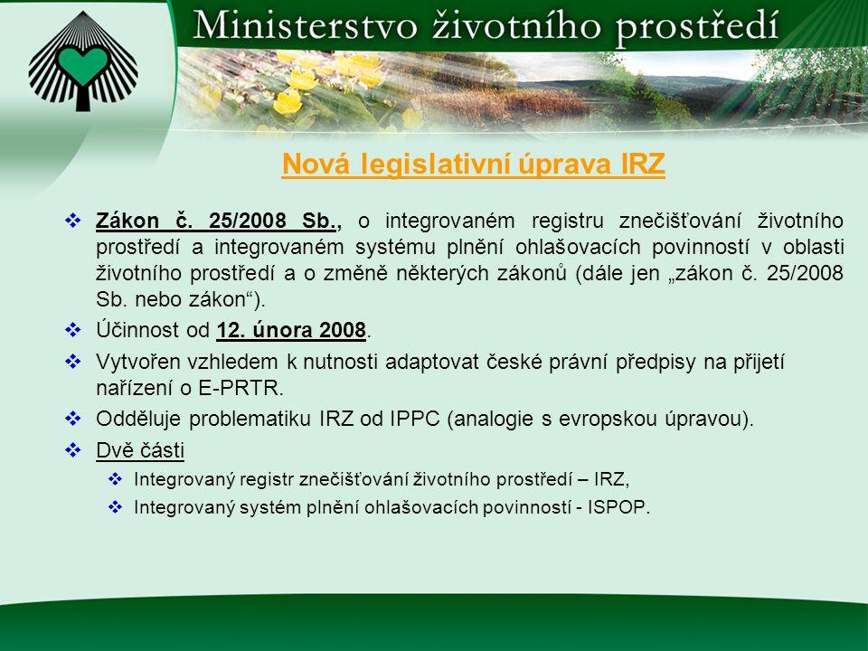 Nová legislativní úprava IRZ