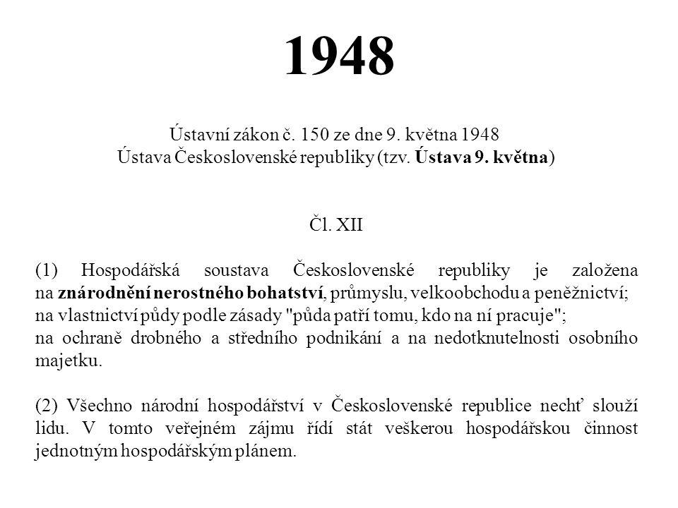 1948 Ústavní zákon č. 150 ze dne 9. května 1948