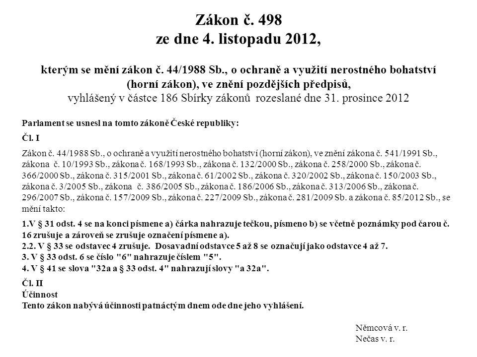 Zákon č. 498 ze dne 4. listopadu 2012, kterým se mění zákon č