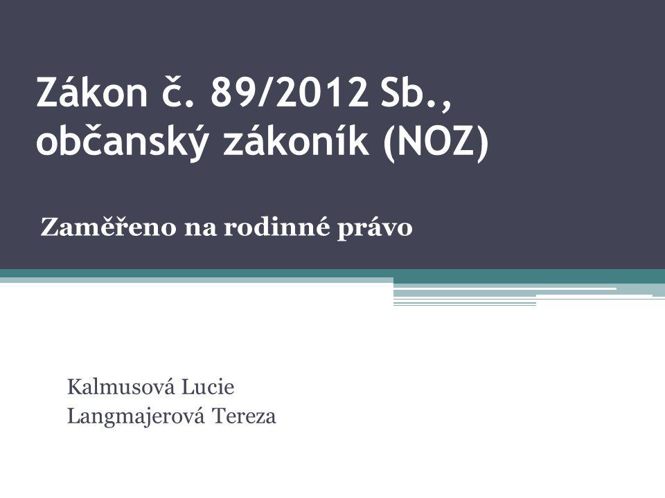 Zákon č. 89/2012 Sb., občanský zákoník (NOZ)