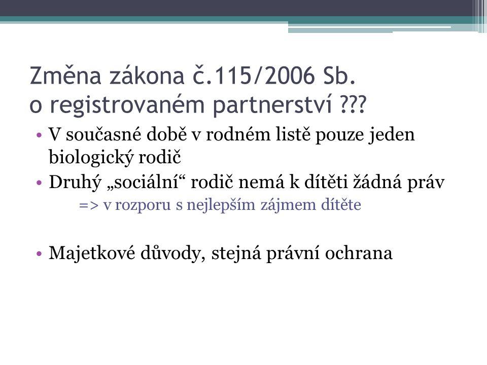Změna zákona č.115/2006 Sb. o registrovaném partnerství