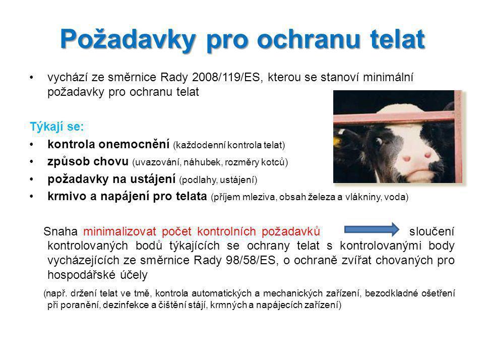 Požadavky pro ochranu telat