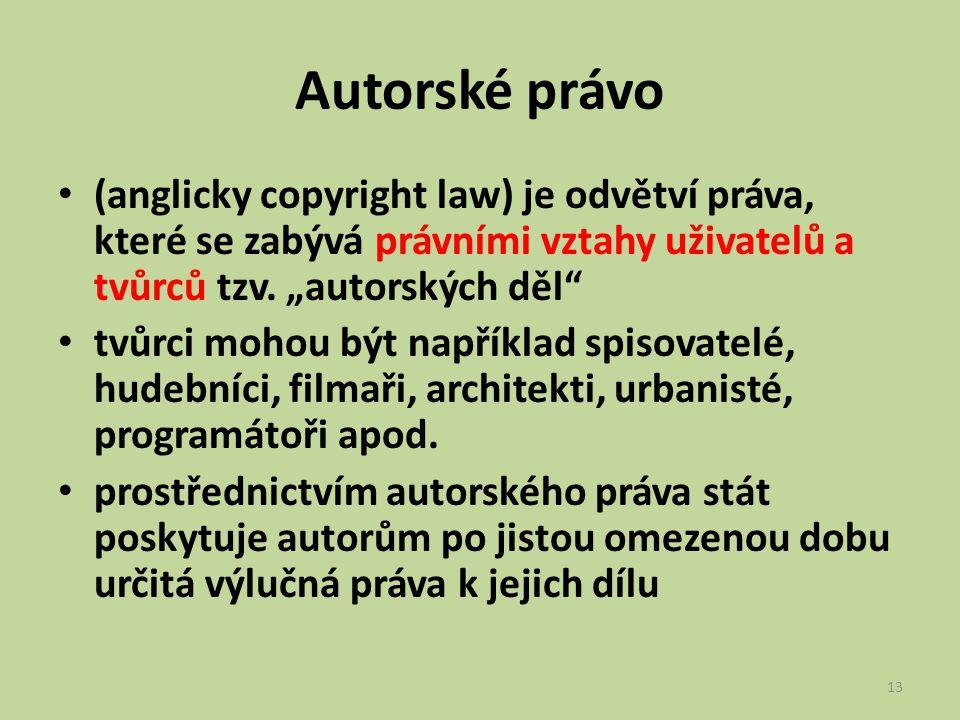 """Autorské právo (anglicky copyright law) je odvětví práva, které se zabývá právními vztahy uživatelů a tvůrců tzv. """"autorských děl"""