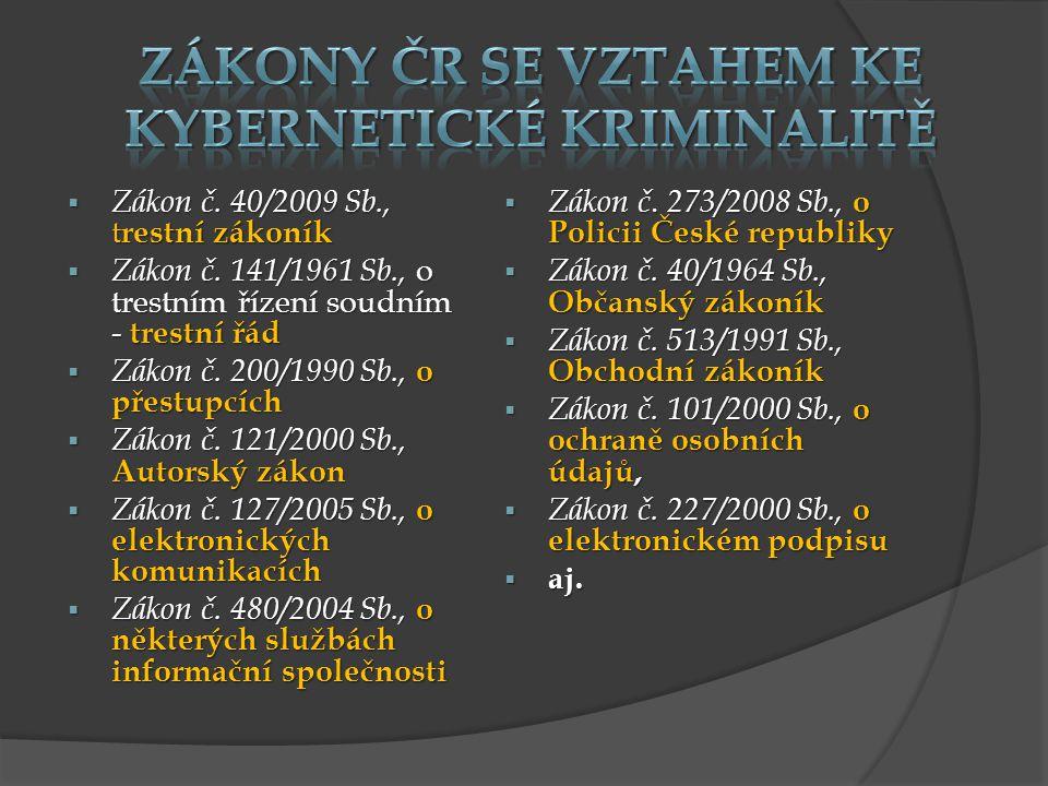 Zákony ČR se vztahem ke kybernetické kriminalitě