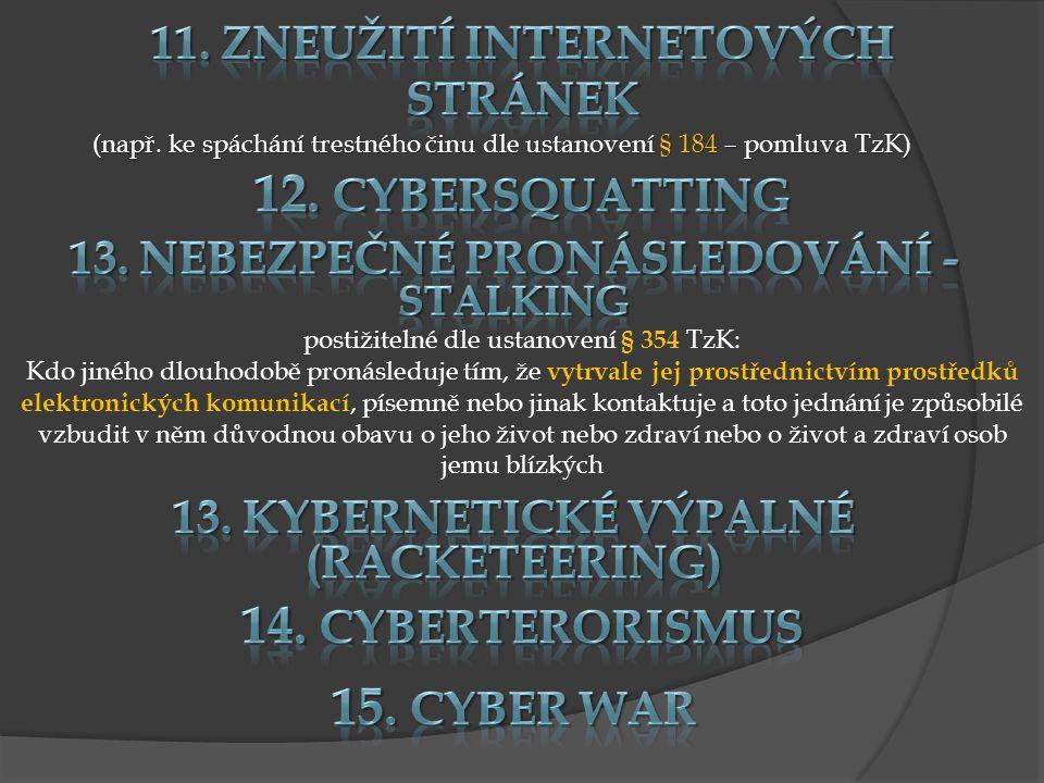11. Zneužití internetových stránek