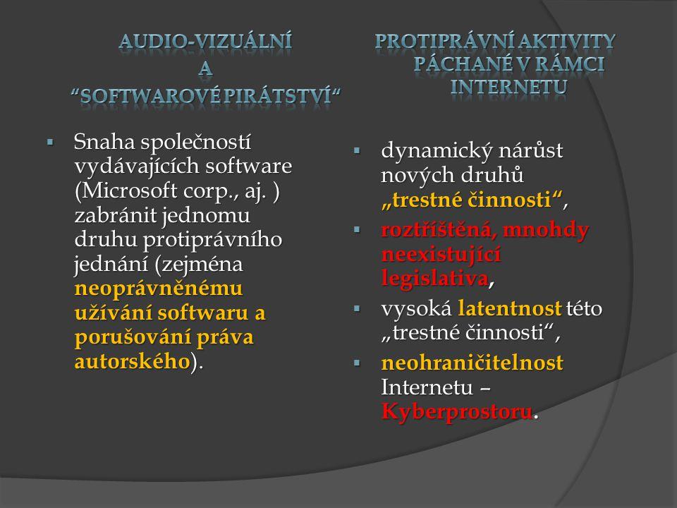 softwarové pirátství Protiprávní aktivity páchané v rámci internetu