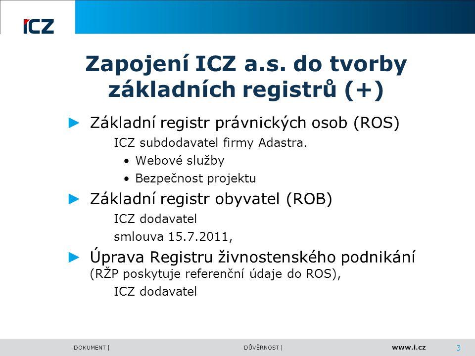 Zapojení ICZ a.s. do tvorby základních registrů (+)