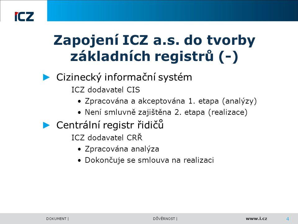 Zapojení ICZ a.s. do tvorby základních registrů (-)